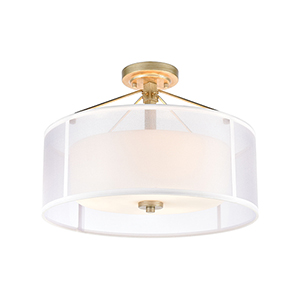 Diffusion Aged Silver Three-Light Semi Flush Mount