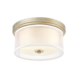 Diffusion Aged Silver Two-Light Flush Mount
