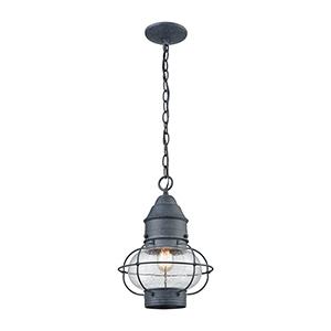 Aged Zinc One-Light Outdoor Hanging Pendant