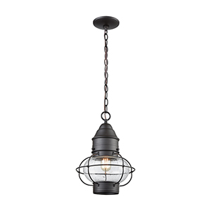 Oil Rubbed Bronze One-Light Outdoor Hanging Pendant