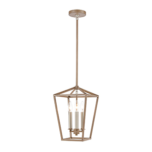 Fairfax Light Wood and Satin Nickel Three-Light Mini Pendant