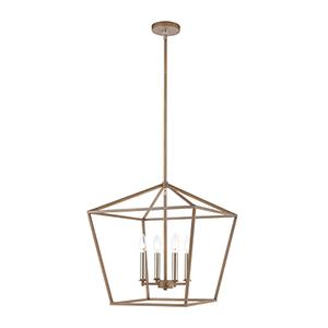 Fairfax Light Wood and Satin Nickel Four-Light Pendant