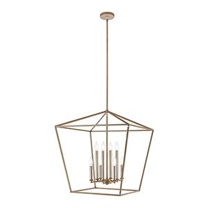 Fairfax Light Wood and Satin Nickel Eight-Light Pendant
