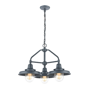 Vinton Station Aged Zinc Three-Light Outdoor Pendant