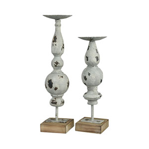 Arlo Antique Grey Candle Holder, Set of Two