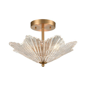 Radiance Satin Brass Three-Light Semi Flush Mount