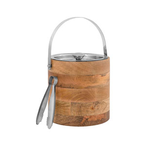 Creswick Stainless Steel and Wood Ice Bucket