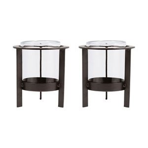 Canal Street Metal Seven-Inch Candle Holder, Set of Two