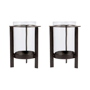 Canal Street Metal Eight-Inch Candle Holder, Set of Two