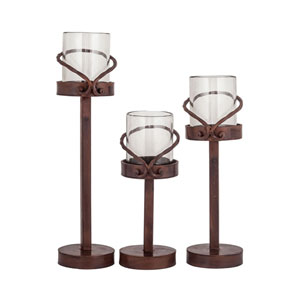 Lasso Metal and Glass Candle Holder, Set of Three