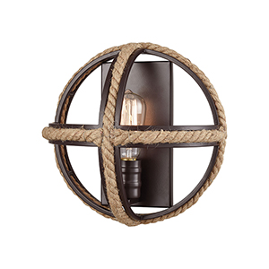 Natural Rope Oil Rubbed Bronze One-Light Wall Sconce
