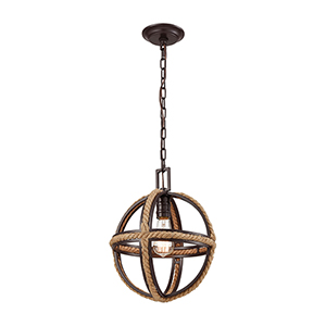 Natural Rope Oil Rubbed Bronze One-Light Pendant