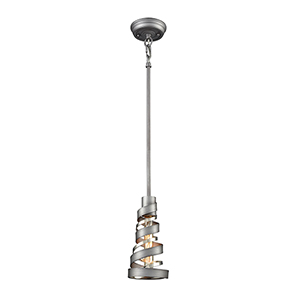 Zabrina Polished Nickel and Weathered Zinc One-Light Mini Pendant