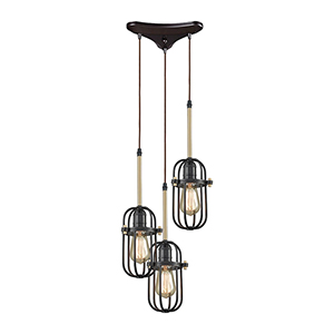 Binghamton Oil Rubbed Bronze and Satin Brass 60W Three-Light Pendant