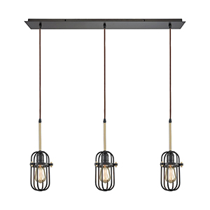 Binghamton Oil Rubbed Bronze and Satin Brass Three-Light Pendant