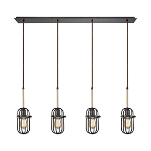 Binghamton Oil Rubbed Bronze and Satin Brass Four-Light Pendant