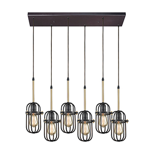 Binghamton Oil Rubbed Bronze and Satin Brass Six-Light Pendant