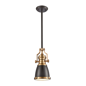 Chadwick Oil Rubbed Bronze and Satin Brass One-Light Mini Pendant