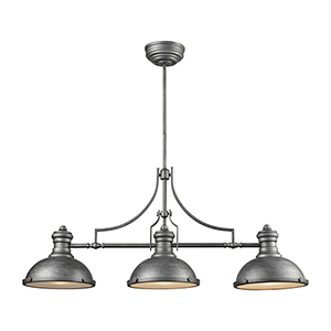 Chadwick Weathered Zinc Three-Light Island Pendant