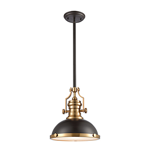 Chadwick Oil Rubbed Bronze and Satin Brass One-Light 13-Inch Pendant