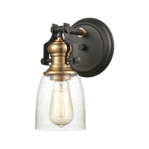 Chadwick Oil Rubbed Bronze and Satin Brass Six-Inch Four-Light Bath Vanity