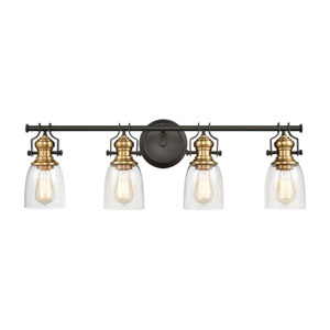 Chadwick Oil Rubbed Bronze and Satin Brass 32-Inch Four-Light Bath Vanity