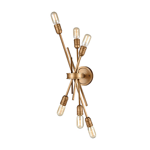 Xenia Matte Gold Six-Light Wall Sconce