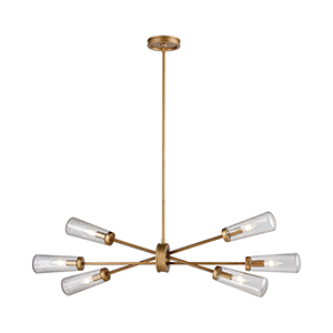 Xenia Matte Gold 38-Inch Six-Light Island Pendant