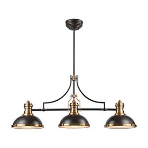 Chadwick Oil Rubbed Bronze and Satin Brass Three-Light Pendant