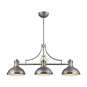 Chadwick Weathered Zinc and Polished Nickel Three-Light Pendant