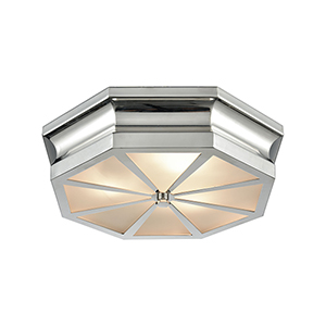 Windsor Polished Nickel 16-Inch Three-Light Flush Mount