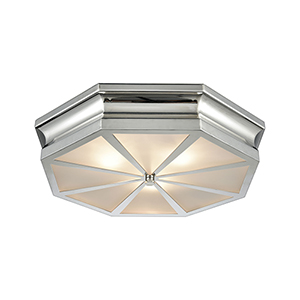 Windsor Polished Nickel 20-Inch Three-Light Flush Mount