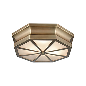 Windsor Classic Brass 16-Inch Three-Light Flush Mount