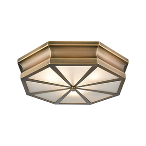 Windsor Classic Brass 20-Inch Three-Light Flush Mount