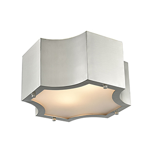 Gordon Satin Nickel Two-Light Flush Mount