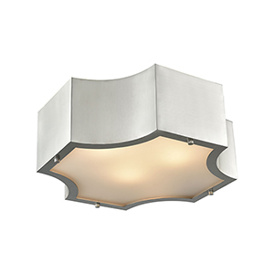 Gordon Satin Nickel Three-Light Flush Mount