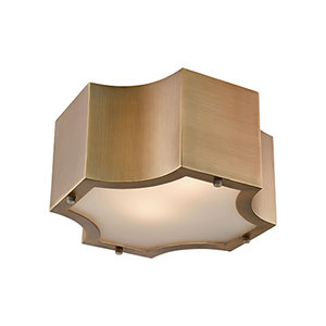 Gordon Classic Brass Two-Light Flush Mount