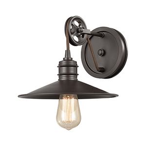 Spindle Wheel Oil Rubbed Bronze One-Light Vanity Light