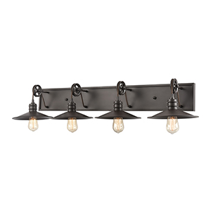 Spindle Wheel Oil Rubbed Bronze Four-Light Vanity Light