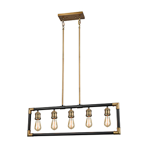 Lisbon Classic Brass and Oil Rubbed Bronze Five-Light Island Pendant