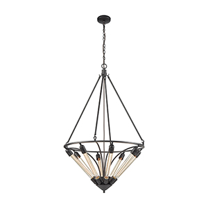 Centrifugal Oil Rubbed Bronze Eight-Light Pendant