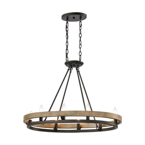Ramsey Matte Black and Aspen Eight-Light Island Chandelier