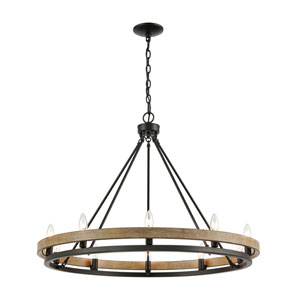 Ramsey Matte Black and Aspen 10-Light Chandelier