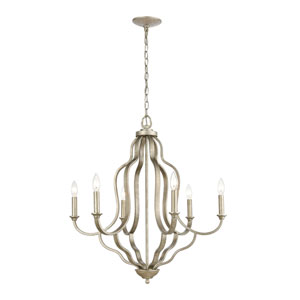 Lanesboro Dusted Silver Six-Light Chandelier
