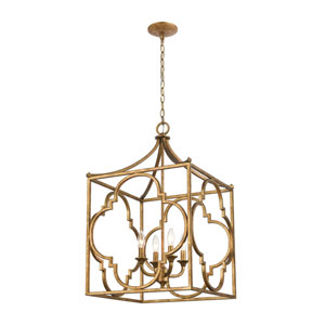 Wembley Antique Gold Four-Light Chandelier