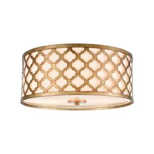 Arabesque Bronze Gold Two-Light Flush Mount