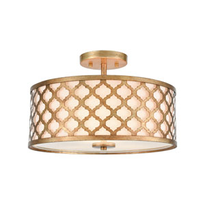 Arabesque Bronze Gold Three-Light Semi Flush Mount