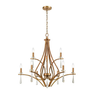Katania Antique Gold Nine-Light Chandelier