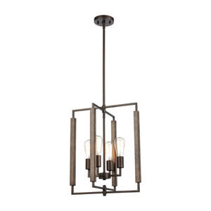 Zinger Oil Rubbed Bronze and Aspen Four-Light Pendant