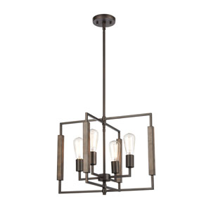 Zinger Oil Rubbed Bronze and Aspen Four-Light Chandelier